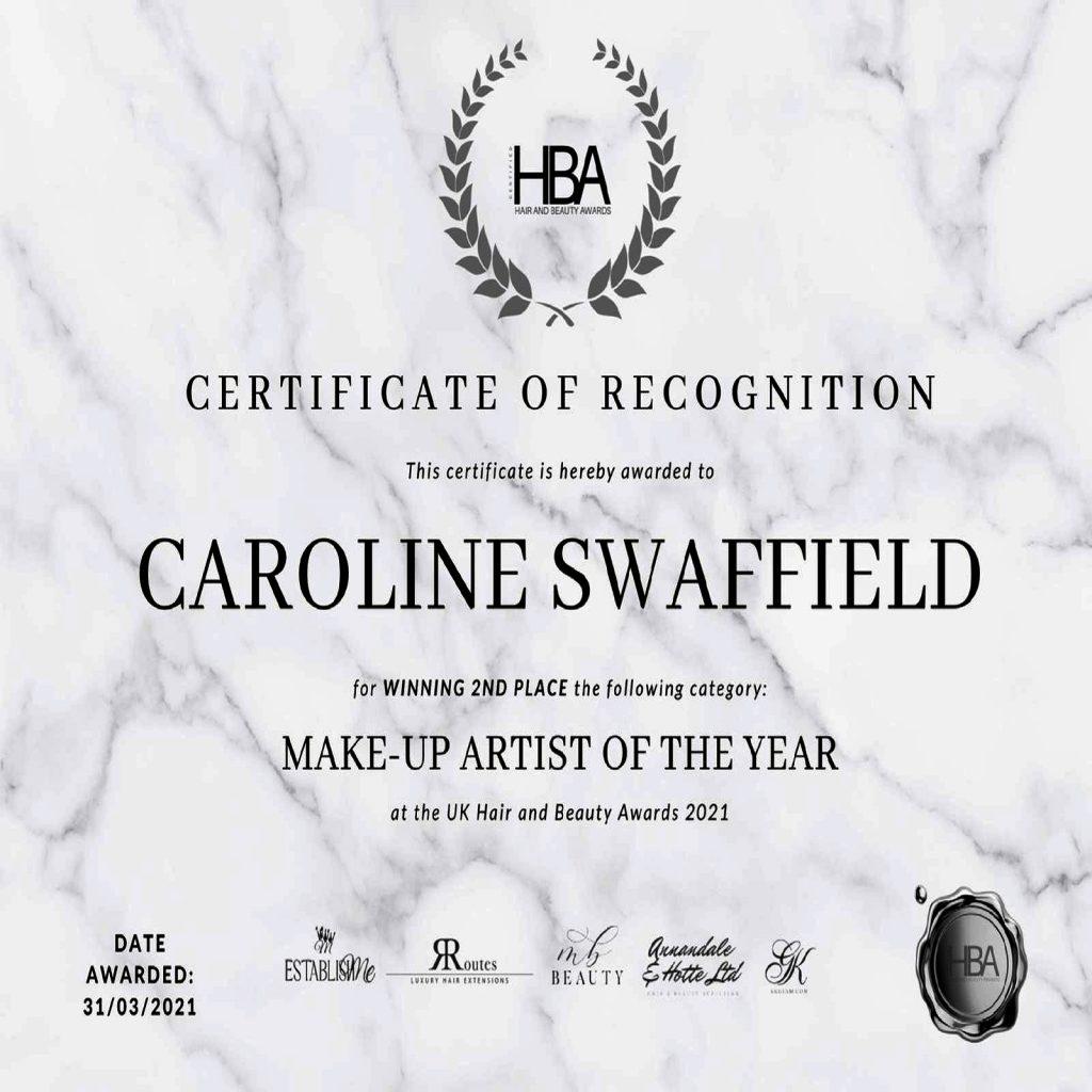 Winner's Certificate UK Hair and Beauty Awards